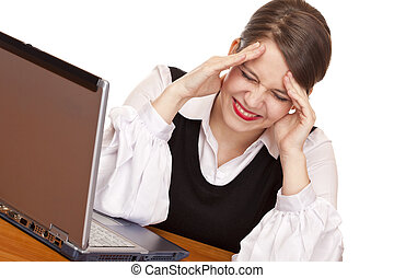 Young stressed business woman with laptop is stressed