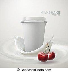 Milkshake paper cup and creamy splash. - Milkshake paper cup...