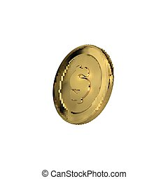 3d golden coin with dollar sign.