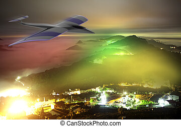 private jet plane in the sky with nice background