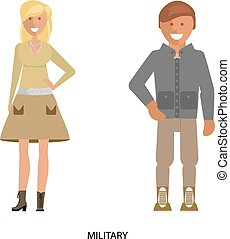 Military dress style - Man and woman in Military dress style...