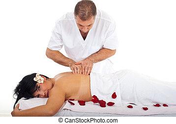 Professional masseur massage woman