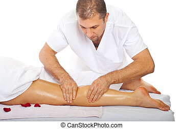 Masseur giving anti cellulite leg massage - Professional...