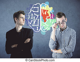Creative and analytical thinking concept - Two handsome...
