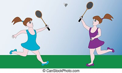 Two girls play a sports game badminton.