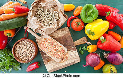 Fresh vegetables and legumes for vegan cooking
