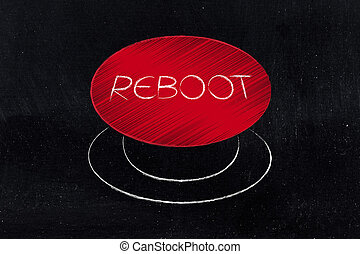 big red reboot button illustration - restarting technology:...