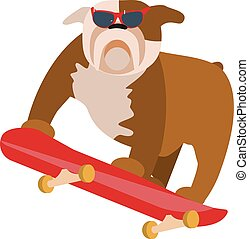 small dog on skateboard - Vector illustration in flat...