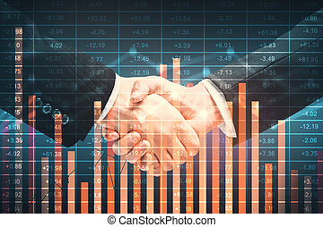 Finance concept - Side view of handshake on abstract blue...
