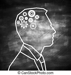 Brainstorm concept - Abstract man outline with cogwheel...