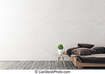 Interior with empty brick wall - Front view of bright...