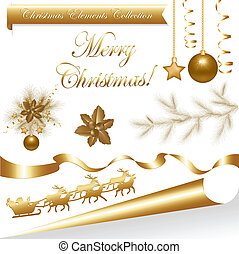 Collection Gold Christmas Elements