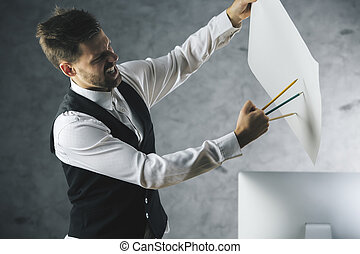 Crazy man - Crazy beast man about to tear paper sheet with...