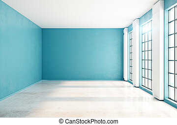 Unfurnished blue interior front - Front view of unfurnished...