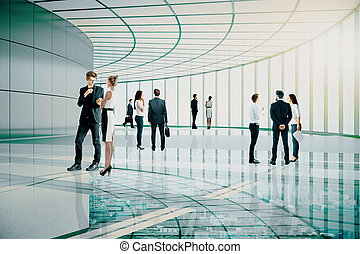 Meeting concept - Businessmen and women communicating in...