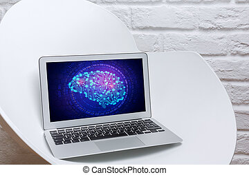 Artificial intellect concept - Close up of laptop with...
