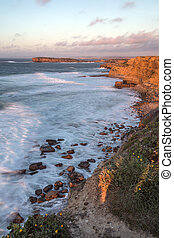 Peniche on the coast of Portugal - Late afternoon sun on the...
