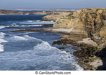 Peniche on the coast of Portugal - Atlantic breakers on the...