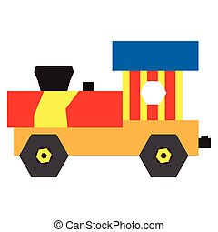 Isolated geometric train toy on a white background, Vector...