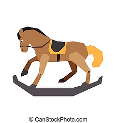 Isolated wooden horse toy - Isolated geometric wooden horse...