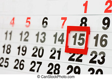 page of calendar showing date of today