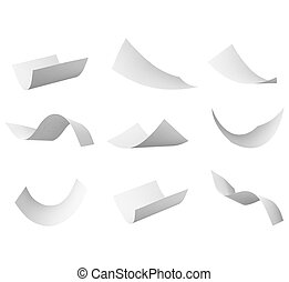 blank curl paper flying in wind - group of flying papers on...