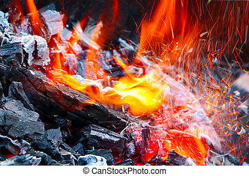 fire and charcoal - Bright fire and charcoal during a flame...