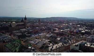 Cracow old town video - Cracow old town aerial view from...