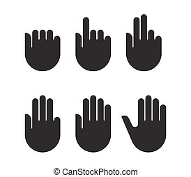 Counting hand signs black silhouette set icons