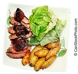Seared Steak and Fingerling Potatoes with blue cheese...
