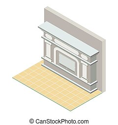 Vector isometric fireplace icon, 3d flat element.