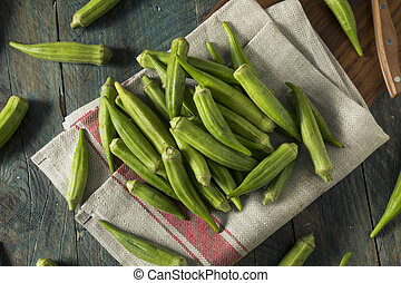 Raw Green Organic Okra Harvest Ready to Cook With