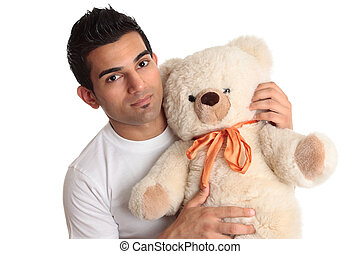 Affectionate man holding bear - Affectional man holding...