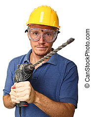 confident handyman with drill