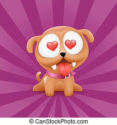 Puppy in love vector character sitting