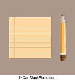Notepad with bookmarks and pencil,
