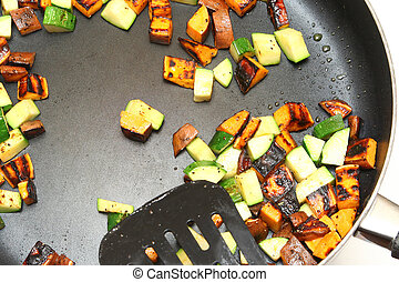 Sweet Potato Hash in frying pan.