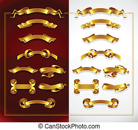 set of decorative gold banners on red and white background...