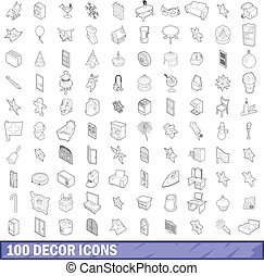 100 decor icons set, outline style - 100 decor icons set in...