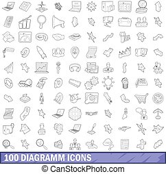 100 diagramm icons set, outline style - 100 diagramm icons...