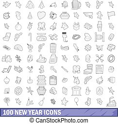 100 new year icons set, outline style