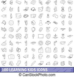 100 learning kids icons set, outline style