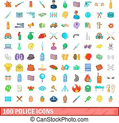 100 police icons set, cartoon style