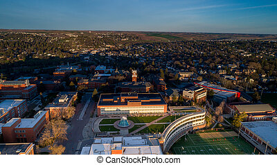 Aerial view of Washington State University in the morning -...