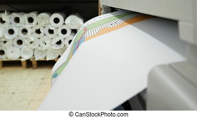 Wide format printer printing draft outline drawing - Wide...