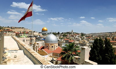 Jerusalem panoramic aerial roof view. Jerusalem is most...