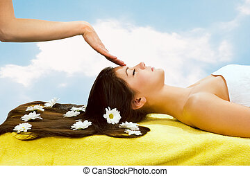 Head massage - Spa Relaxing.Head massage Beautiful brunette...