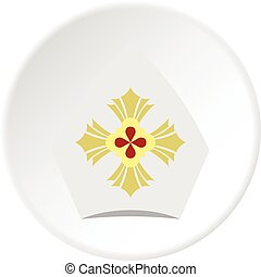 Catholic hat icon circle - Catholic hat icon in flat circle...