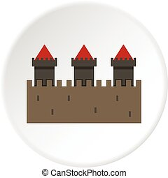 Medieval fortification icon circle - Medieval fortification...