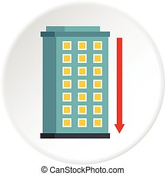 Building and red down arrow icon circle - Building and red...
